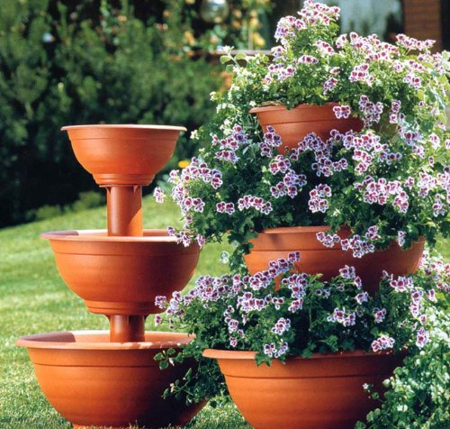 Plant Stand, Three Tier, Terracotta, Large
