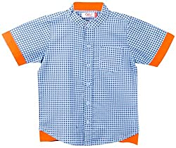 Oye Boys Half Sleeve Shirt With Invert Flap - Blue (4-5Y)