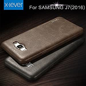 For Samsung Galaxy J 7 - 6 (2016 Edition) Genuine Leather Back Cover Case - Vintage Series Coffe Brown - Not For J7 2015