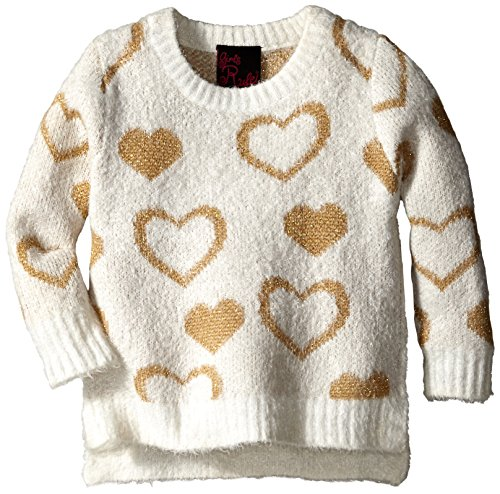 Girls Rule Little Girls' Lurex Heart Intarsia Sweater, Ivory, 3T