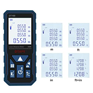 Laser Measure, DTAPE 328 Feet Digital Laser Tape Measure M/In/Ft Unit switching Backlit LCD and Pythagorean Mode, Measure Distance, Area and Volume - Carry Pouch and Battery Included DT100 (Color: DT100/328FT)