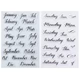 Kwan Crafts 2 Sheets Different Style Month January Week Monday Clear Stamps for Card Making Decoration and DIY Scrapbooking