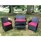 4PC Cushioned Outdoor Patio Garden Lawn Furniture PE Rattan Sofa Set Red