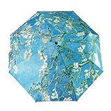 GLODEALS Van Gogh Masterpiece Oil Painting Automatic 3 Folding Parasol Sun Protection Anti-UV Umbrella for Women (Almond Blossom)