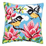Vervaco Blue Tits Cross Stitch Cushion Multi Colour