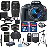 Canon EOS Rebel SL1 18MP Digital SLR with US Warranty &Canon EF-S 18-55mm f 3.5-5.6 IS STM Lens & EF 75-300mm f 4-5.6 III & HD 58mm wide angle & Telephoto Lens +Total 32GB of Memory +Deluxe Bundle