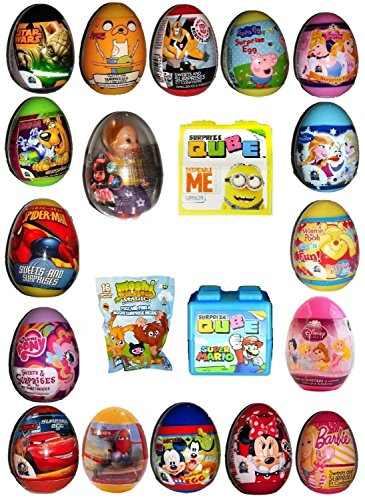 Surprise Eggs x 20 all different including Moshi Monster Fizz Foil with figures, Frozen, Spiderman, , Lolly the Dolly, Scooby Doo, Minions, Minnie Mouse ,Peppa Pig, Disney Princesses and many more
