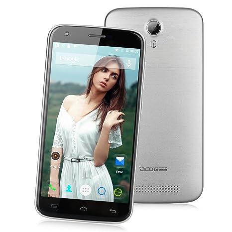 DOOGEE Y100 PRO 4G Smartphone Débloqué 5,0 pouces IPS OGS HD Ecran Android 5.1 Quad Core MT6735P Dual SIM 2Go RAM 16Go ROM caméra 8MP&5MP-Smart Wake HotKnot GPS Wi-Fi-compatible avec Orange SFR Free etc(Argenté)