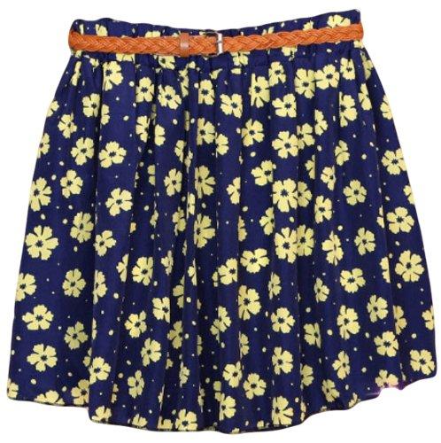 Psezy Women Casual Floral Print Chiffon Preppy Style Mini Skirts With Belt Styel 1