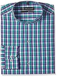 Hancock Men's Formal Shirt (43327White-Green_38)