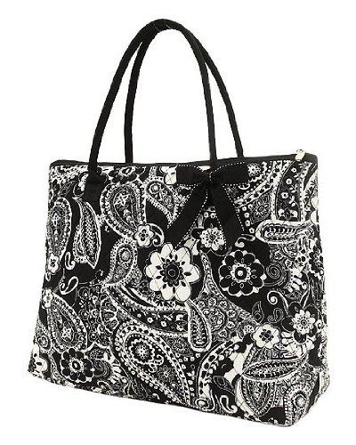 Large Quilted Floral Paisley Tote Bag - Black & White