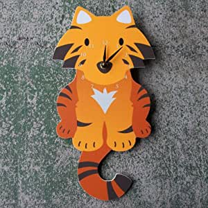 Tiger Wall Clock, orange/black, Animal Clock CQ Decor