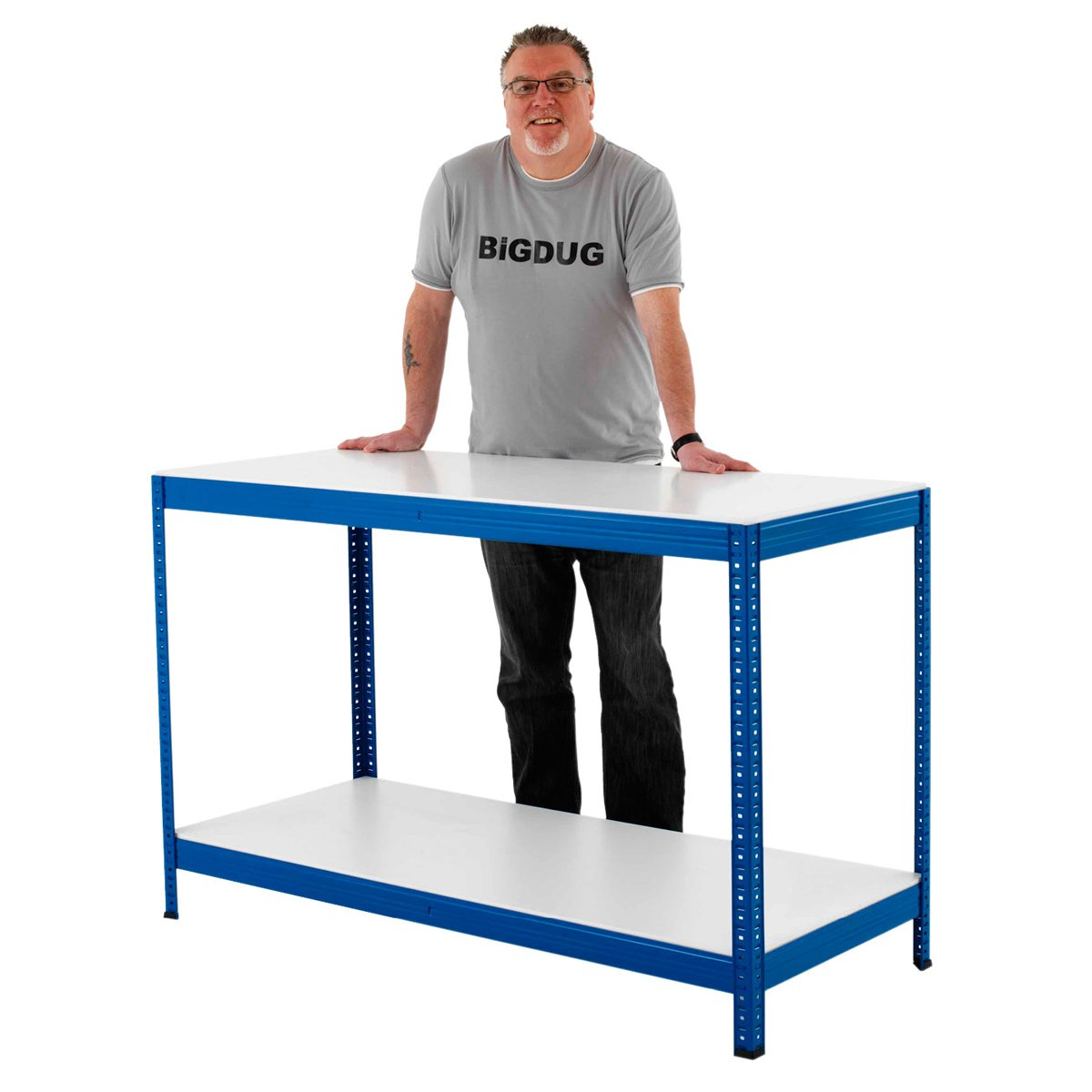 Industrial Steel Workbench Table Shelving With 2 Shelves Melamine Or Chipboard/2 Widths (1800mm Wide Melamine Shelves)       review and more news