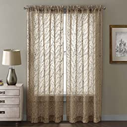VCNY Berkley Window Panel and Valance, 54 by 1 by 95-Inch, Taupe