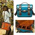 zhigao Medium Mens Womens Vintage PU Leather DSLR Canon Nikon Sony Camera Shoulder Bag