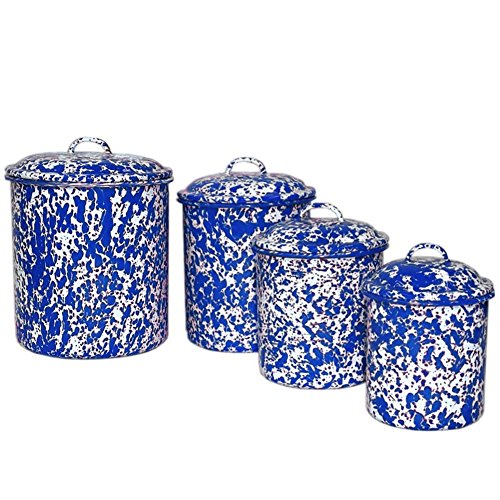 Enamelware 4 Piece Canister Set - Blue Marble