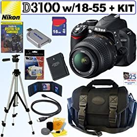 Nikon D3100 14.2MP Digital SLR Camera with 18-55mm f/3.5-5.6 AF-S DX VR Nikkor Zoom Lens + EN-EL14 Battery + 16GB Deluxe Accessory Kit