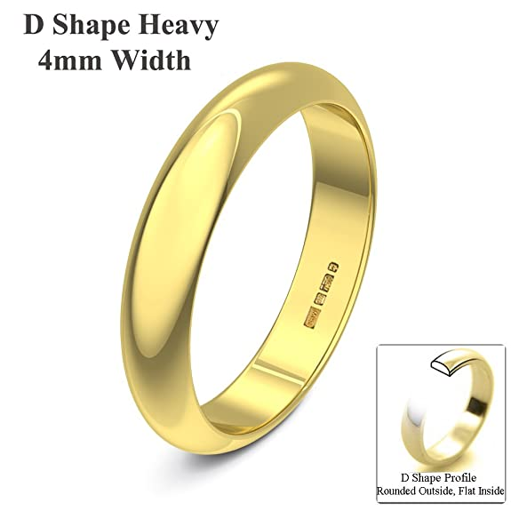 Xzara Jewellery - 9ct Yellow 4mm Heavy D Shape Hallmarked Ladies Gents 3.2 Grams Wedding Ring Band