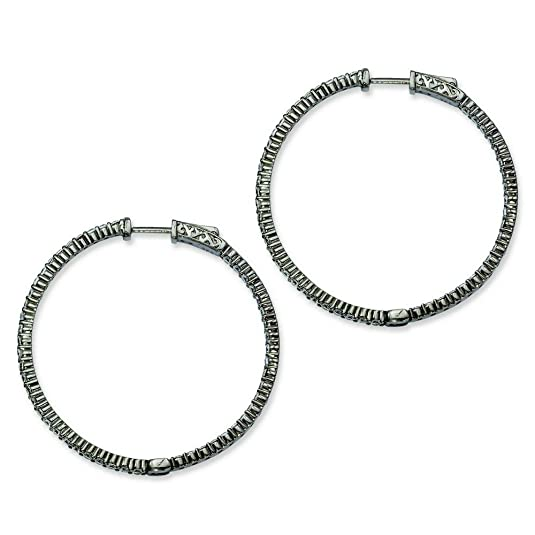 Sterling Silver Black Plated With CZ Hoop Earrings