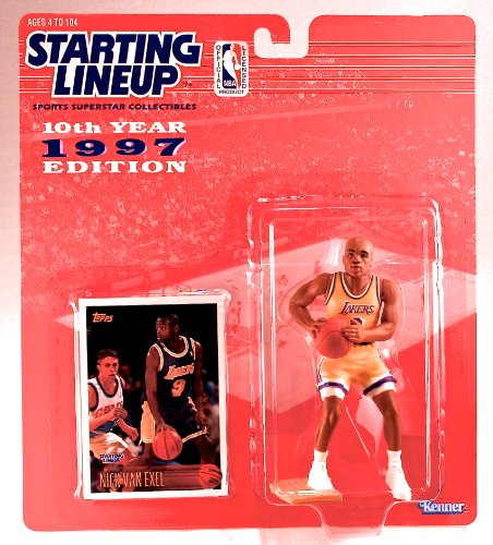 NICK VAN EXEL / LOS ANGELES LAKERS 1997 NBA Starting Lineup Action Figure & Exclusive NBA Collector Trading Card - 1