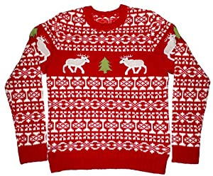 Ugly Christmas Sweater - Holiday Reindeer Pullover Sweater by Skedouche