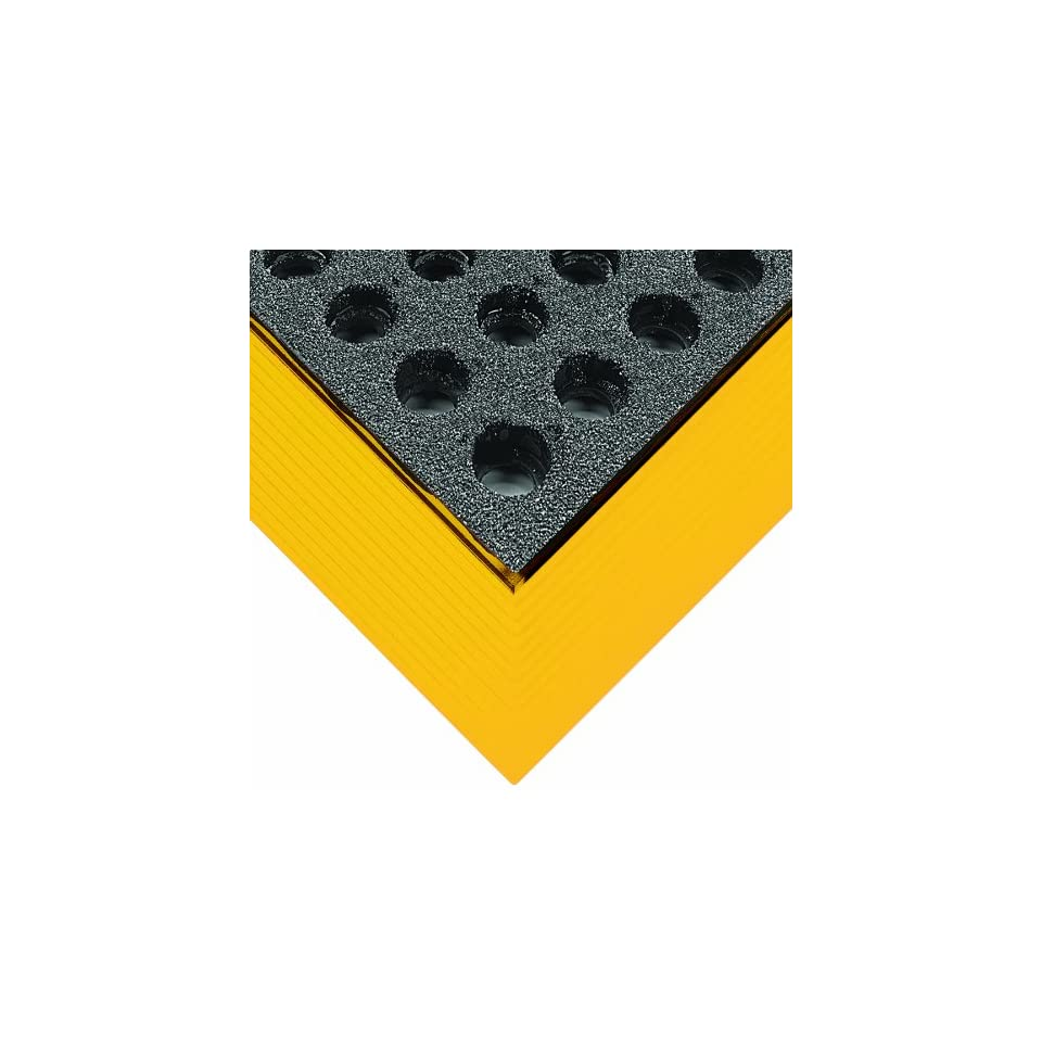 Wearwell Rubber 487 Industrial GritWorks Heavy Duty Anti Fatigue Mat, Molded Safety Beveled Edges, for Wet Areas, 2 Width x 3 Length x 3/4 Thickness, Black / Yellow