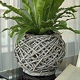 Eco-Friendly Artistic Wicker Woven Tabletop Flower Basket Light Grey