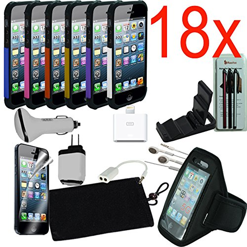 18Pcs Iphone 5 5S Accessories Bundle, Protective Case, Armband, Power Adapter, Car Charger,Earphone Headset, Screen Protector, Sleeve Bag, Desktop Stand, Stylus And More