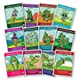 100% CERTIFIED ORGANIC Herbs Set - 12 Organic Herb Seed Packets Plus 4 BONUS Seed Packets, Plant Markers and Instruction Booklet