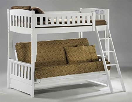 Cinnamon Series White Twin Bunk Bed w Futon Lower Deck