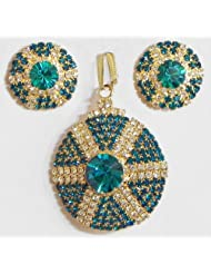 Cyan And White Stone Studded Round Shaped Pendant And Earrings - Stone And Metal