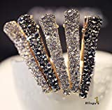 Blingys Crystal Rhinestone Simple Style Hair Clips/Barrette/Duck Bill Clip/Hairpin/Bobby Pin (Packed With Our Blingys Bag) (Black With Black Crystal)