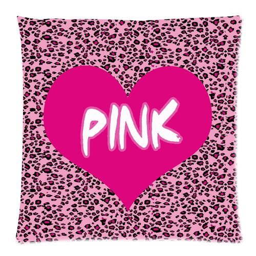 """Generic Love Pink And Leopard Throw Pillow Case Custom Zippered Cushion Case 18""""X18""""(Two Sides) front-991884"""