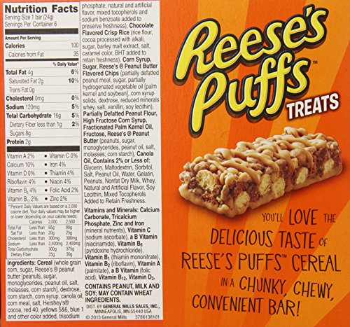 Reese's Puffs Cereal Bar Treats, 5.1 Ounce (Pack Of 12
