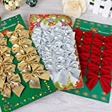 Generic Silver : Gold Silver Red Christmas Tree Ornaments Bow For Christmas Gift Decoration Supplies(12 Pcs/lot )