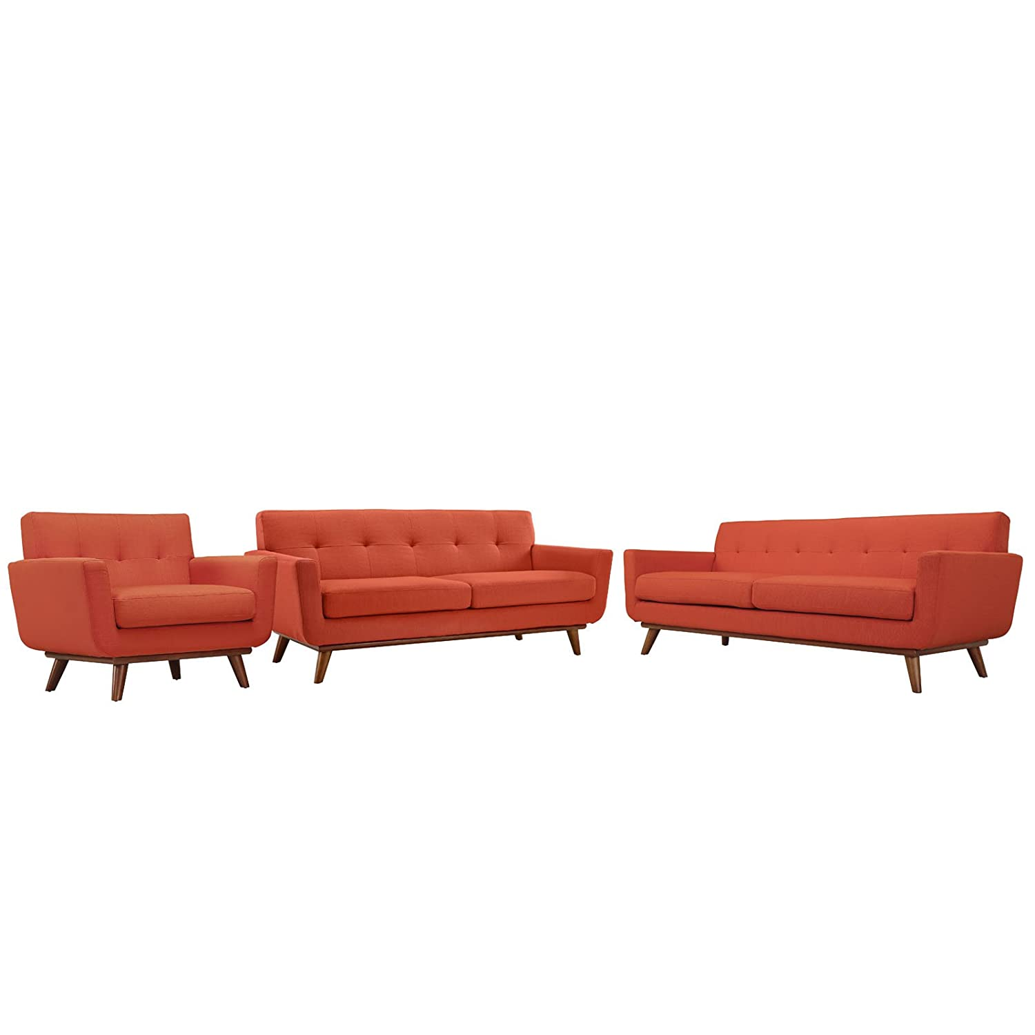 Modern Contemporary Sofa Loveseat and Armchair (set of three) - Red Fabric