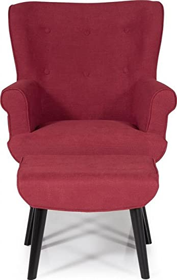 Serene Oban Retro Chair and Footstool Upholstered Button Effect Fabric | Red