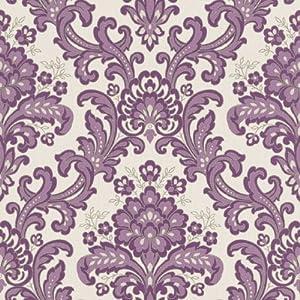 Rasch verona vinyl purple damask wallpaper 535037 for Purple kitchen wallpaper