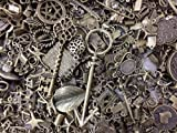 30pc Assorted Size Antiqued Bronze Charms, Bails, Jumprings, Cameo Bezel Settings, Rings, Hair Parts, Pendants, Tips, Caps, and More Jewelry Findings BONUS PEPPERLONELY Refrigerator Magnet