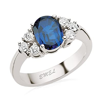 1.88 Carats 18k Solid White Gold Blue Sapphire and Diamond Engagement Wedding Bridal Promise Ring Band