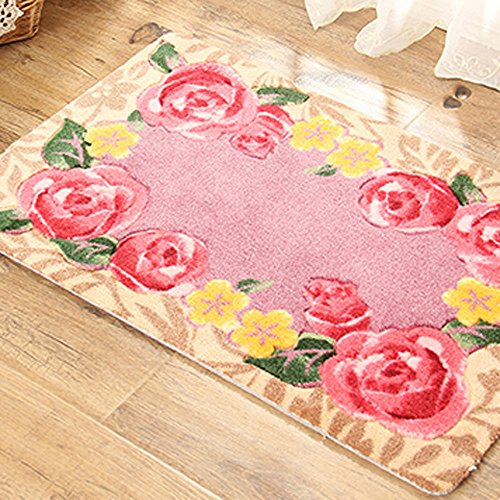 E.a@market Country Style Doormat Stereoscopic Rose Bath Skid Resistance Mat (Changmi)