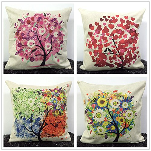Wonder4 Multicolor Tree Cotton Linen Square Decorative Throw Pillow Case Cushion Cover Set of-4 18 x 18 inches