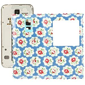Blue Background with Red Flower Pattern Flip Leather Replacement Back Cover with Call Display ID for Samsung Galaxy S5 / G900