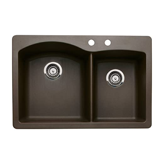 Blanco 440213-2 Diamond 2-Hole Double-Basin Drop-In or Undermount Granite Kitchen Sink, Cafe Brown