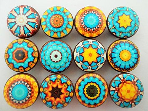 Set of 12 Aqua Blue and Yellow Mandala Cabinet Knobs (Aqua Blue Knobs compare prices)