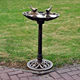 KINGFISHER TRADITIONAL BRONZE EFFECT GARDEN OUTDOOR BIRD BATH TABLE WEATHERPROOF