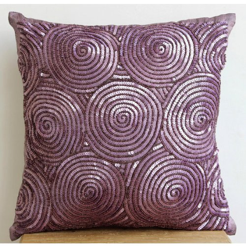Purple Touch - 18X18 Inches Square Decorative Throw Purple Silk Pillow Covers With Sequins & Bead Embroidery front-1006789
