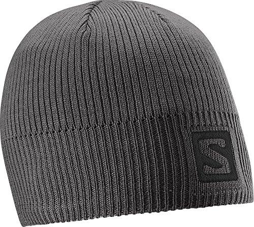 Salomon L37557800 Cappello Unisex, Per sport invernali, Logo Beanie, Grigio scuro