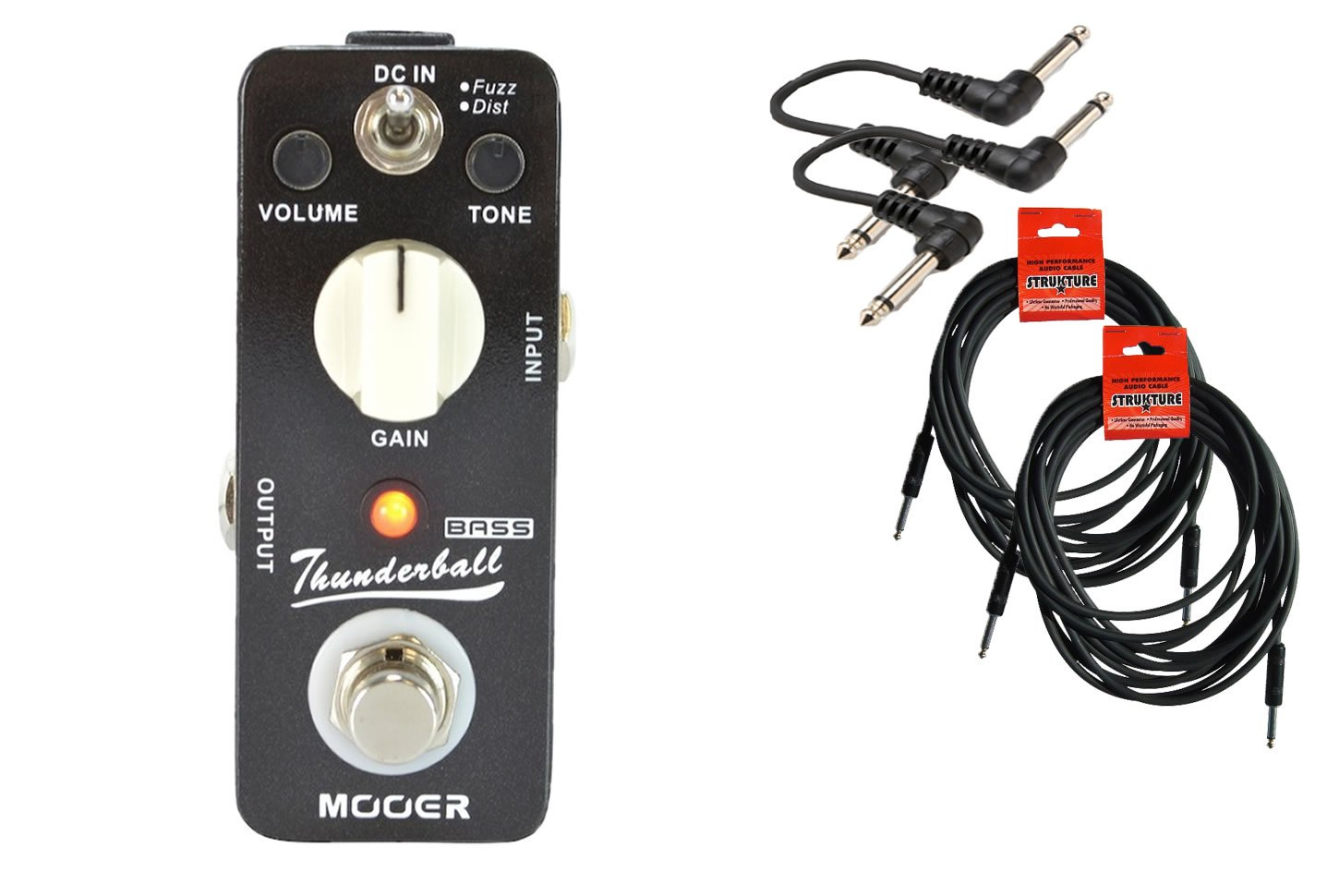 Mooer Audio Thunderball Bass Distortion Cable Bundle w/ 4 free Items: 2x 18.6' Strukture Cables, 2x Hosa Patch Cables hosa pro balanced rean dual 1 4 inch trs interconnect cable