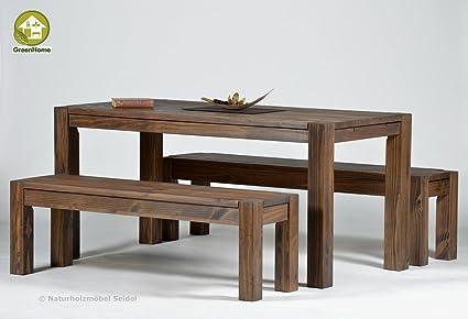Sitzgruppe Garnitur mit Esstisch ,,Rio Bonito,, Cognac braun 160x80cm + 1x Sitzbank in 140x38cm, Pinie Massivholz, geölt und gewachst, (Esstisch + 1xBank 140x38cm)